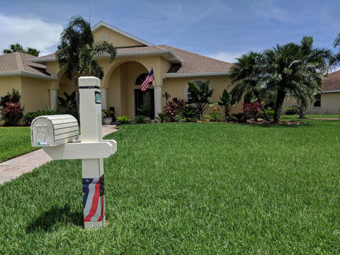 mailbox post american flag