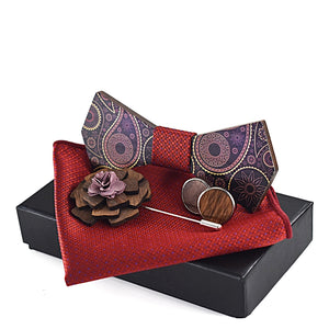 Handmade Wooden Combo <br> · Bowtie-Cufflinks-Pocket Square-Brooch <br> · Paisley Pattern  <br> · Gift Box