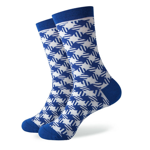 Colorful blue style cotton socks <br>  5 pairs