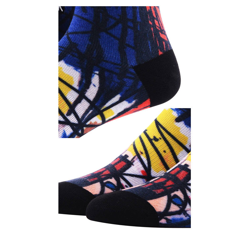 Printed compression cotton socks <br> Geometry abstract artistic pattern  <br> · One pair ·