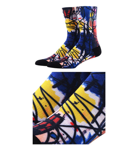 Image of Printed compression cotton socks <br> Geometry abstract artistic pattern  <br> · One pair ·