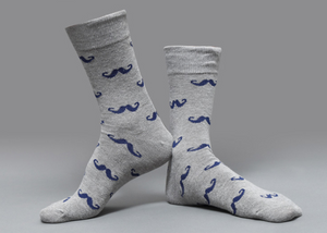 »Hercules Poirot Mustache« <br> Cotton socks  <br> · One pair ·