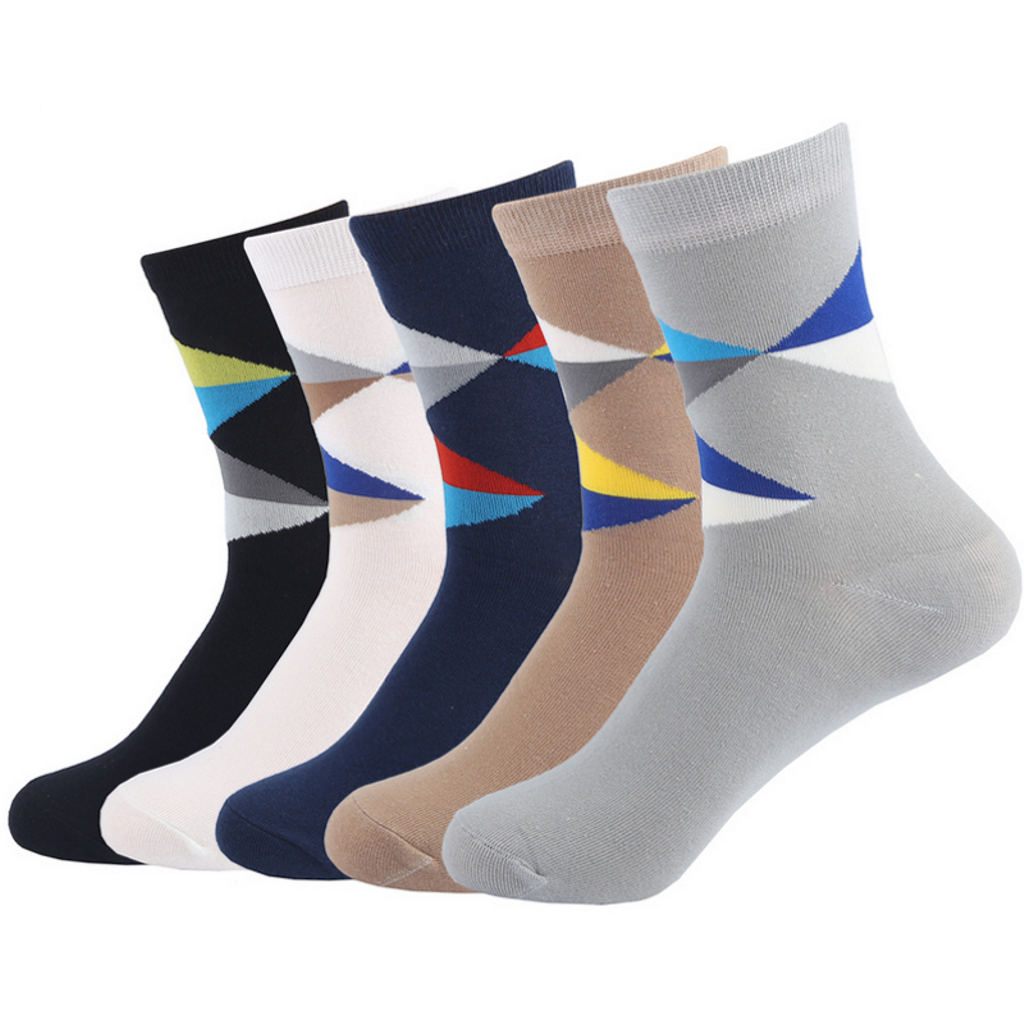 Colorful diamond lattice cotton socks <br> 5 colors <br> · 5 pairs ·