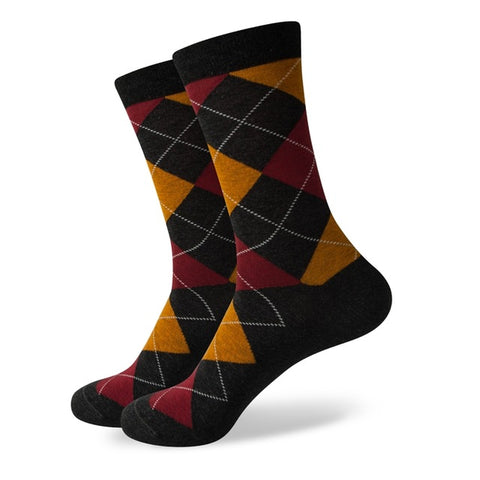 Image of Novelty Argyle Combed Cotton Socks <br> · 14 pattern variants <br> · One pair