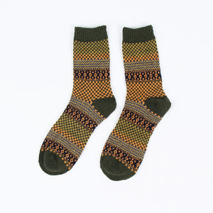 Grid pattern wool socks <br>  5 colors <br> · 5 pairs ·