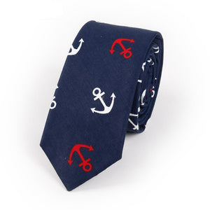 Men's Printed Cotton Anchor Necktie