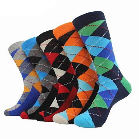 Novelty argyle pattern colorful cotton socks <br>  · 5 pairs ·