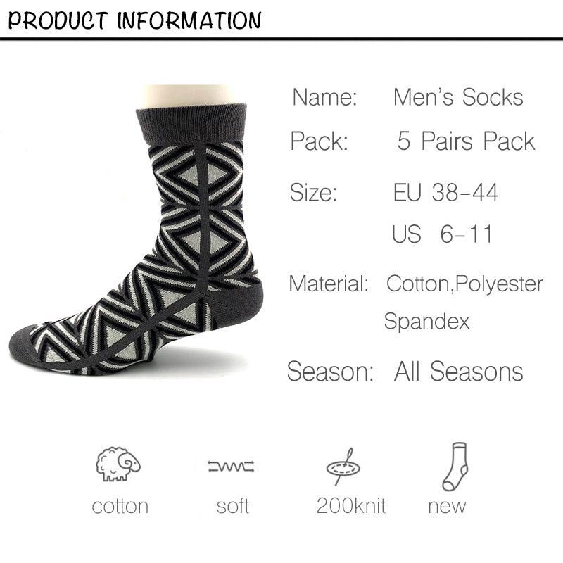 Harajuku Style Cotton Dress Socks <br> · 5 Pairs in Gift Box  ·