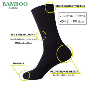 Bamboo anti-bacterial socks <br> Black <br> · 6 pairs ·