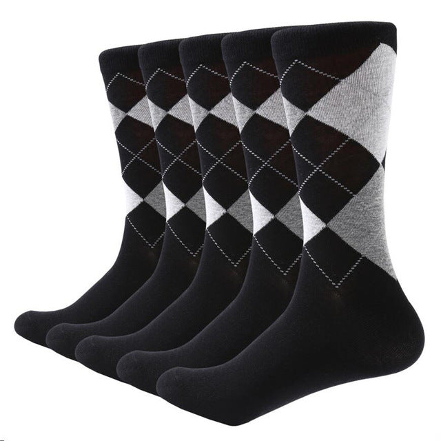 Argyle pattern cotton socks, Black 