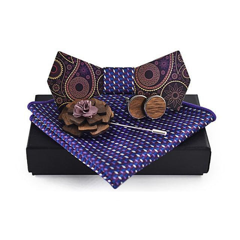 Handmade Wooden Combo<br> · Bowtie-Cufflinks-Pocket Square-Brooch <br> · Paisley Pattern  <br> · Gift Box