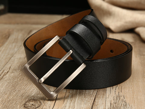 Men's Genuine Leather Belt  · Simple buckle · 2 leather colors