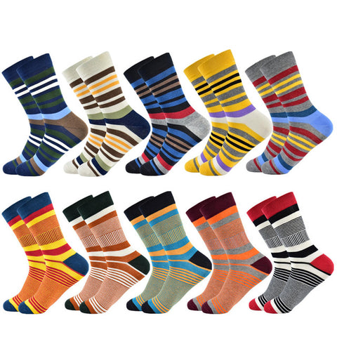 Colorful Fancy Socks · Various stripe patterns · 10 pairs value pack