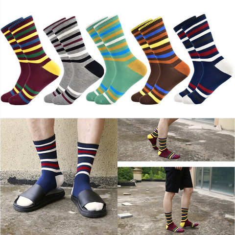 Image of Colorful Fancy Socks · Various stripe patterns · 10 pairs value pack