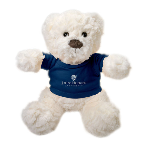 "Johns Hopkins University Winston Bear 12"" Plush, Ivory"
