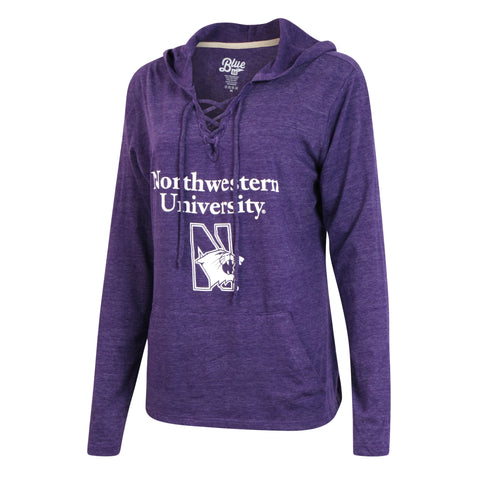 Northwestern University Lace Up Sweater Hoodie