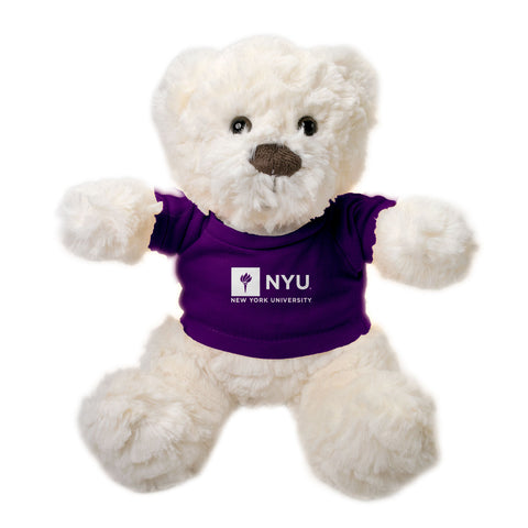 "New York University Winston Bear 12"" Plush, Ivory"