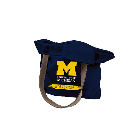 University of Michigan Leather Handle Canvas Tote