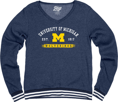 University of Michigan V Neck Varsity Fleece Sweater
