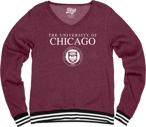 University of Chicago V Neck Varsity Fleece Sweater