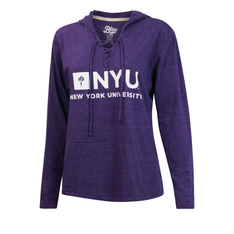 New York University NYU Lace Up Sweater Hoodie