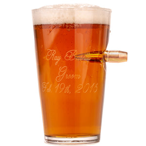 .50 Caliber Real Bullet Handmade Pint Glass