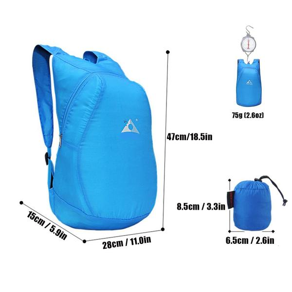 micro packeable backpack size