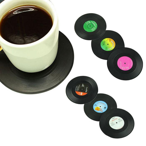 6pcs/set Vintage Vinyl Record Beverage Coasters Anti-slip