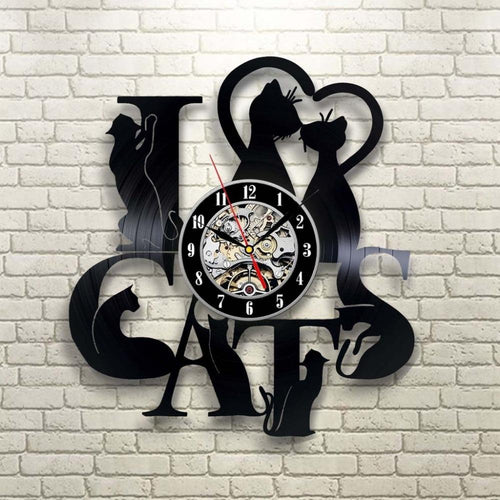 Vinyl Hanging Clock  Cat Theme Vintage