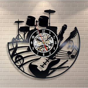 Vinyl Hanging Clock Design Musical Theme Art Watch