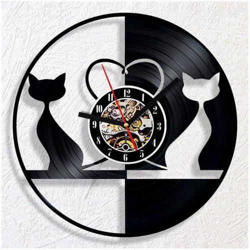 Vinyl Hanging Clock Lovely Cat