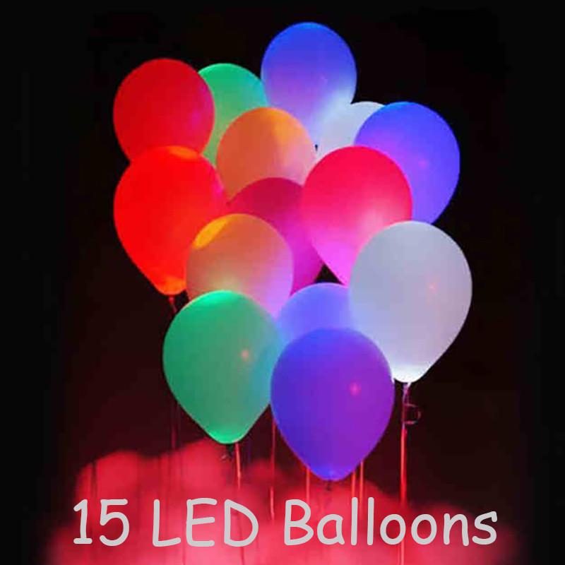 15pcs 12'' LED Balloon Light Ball Latex Multicolor Helium