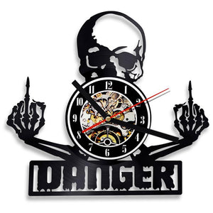 Vinyl Hanging Clock Finger Skull Wall Art