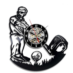 Vinyl Hanging Clock for Playing Golf Vintage Style