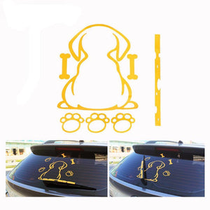 Car Styling Funny Spotted Dog Moving Tail Stickers Reflective
