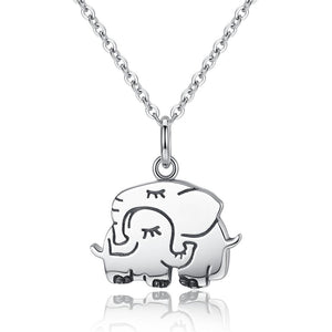 Silver Cute Elephant Mother Pendant