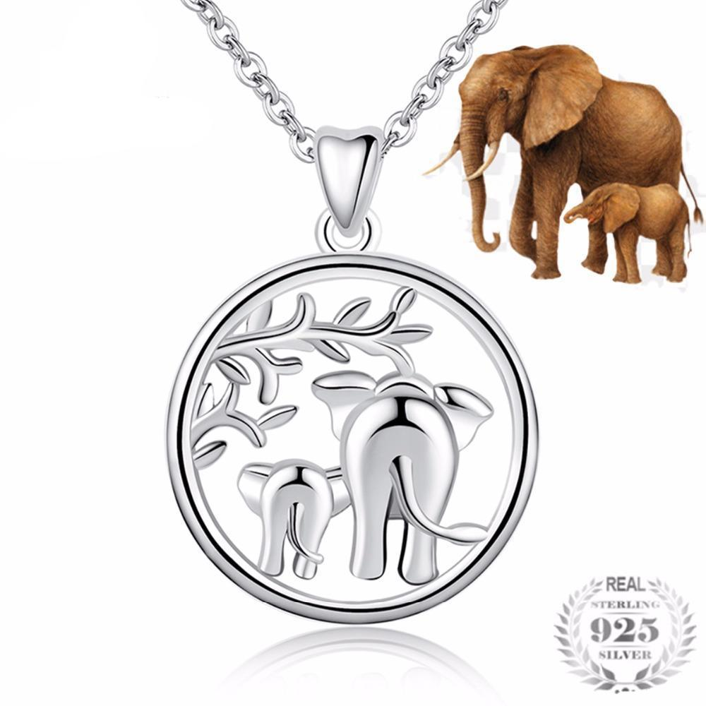 Silver Mom and Baby Elephant Necklace