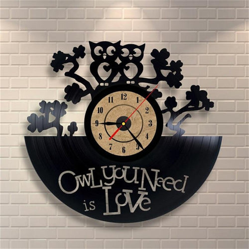 Vinyl Hanging Clock Owl You Need is Love