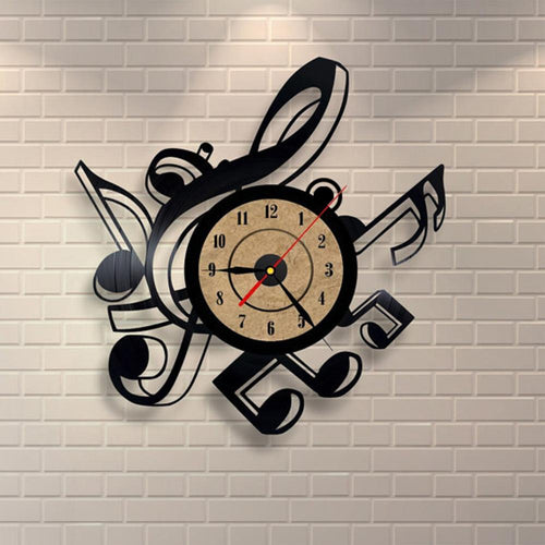 Vinyl Hanging Clock Vintage Retro Musical Themes