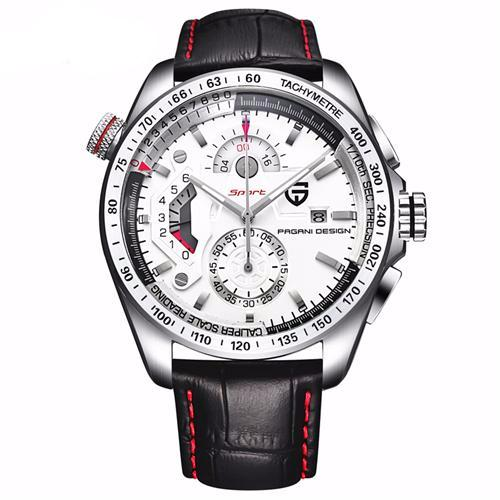 Men's Quartz Leather Band Sports Watch - 4 Styles