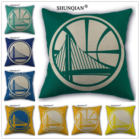 Golden State Warriors Custom 18'' Square Linen Pillow Case