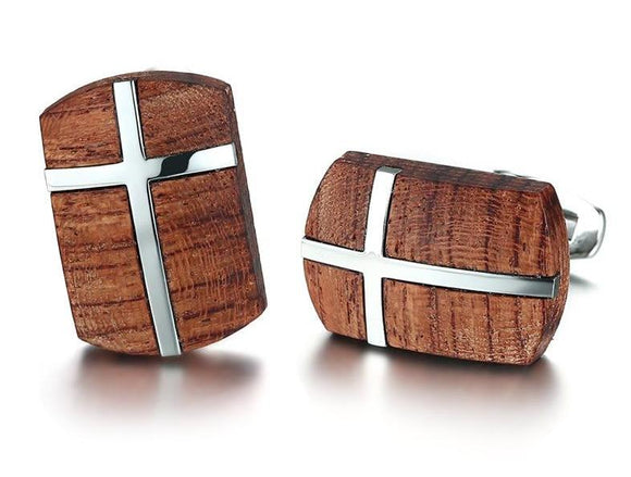 Men's Retro Wood & Stainless Steel Cuff-Links
