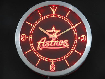 Houston Astros Neon Sign LED Wall Clock - 3 Colors To Choose From