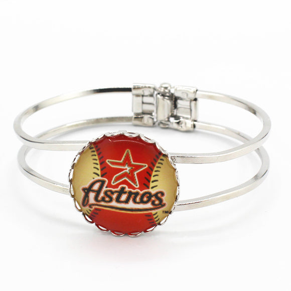Houston Astros Silver Alloy Bracelet (6 Pieces Per Order)