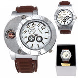 Classic Men's Luxury Wristwatch Leather Band & Cigarette Lighter
