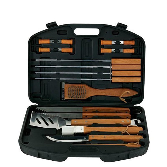 Grill Master Stainless-Steel & Wood BBQ Set