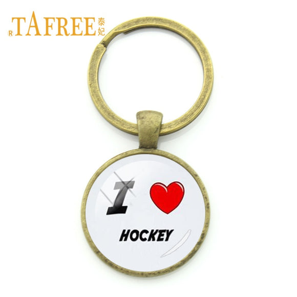 I Love Hockey Key Chain
