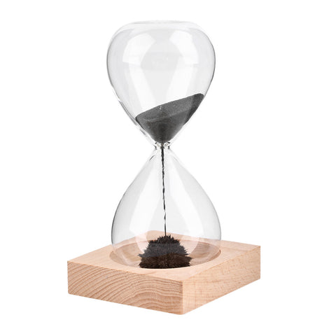 Wooden Base Glass Hourglass with Magnetic iron filled sand