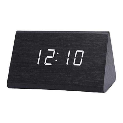 Modern Triangle LED Wooden Alarm Clock Classical Digital Sound Control Desk Clock Thermometer