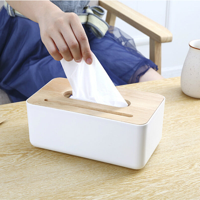 Wood Top Tissue Box Dispenser